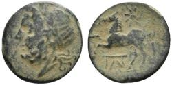 Ancient Coins - ITALY. Northern Apulia, Arpi, c. 325-275 BC. Æ 16mm. Laureate head of Zeus. R/ Horse