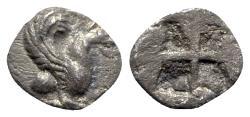 Ancient Coins - Ionia, Teos, c. 500-460 BC. AR Hemiobol