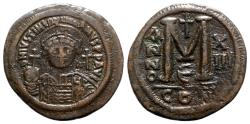 Ancient Coins - Justinian I (527-565). Æ 40 Nummi - Constantinople, year 13