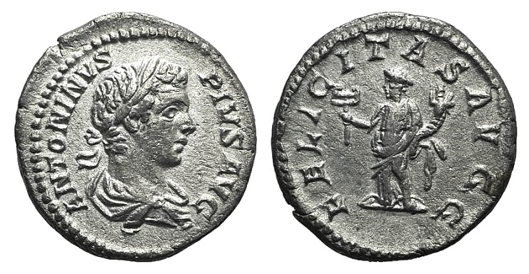 Ancient Coins - Caracalla (198-217). AR Denarius. Rome, 205.  R/ Felicitas