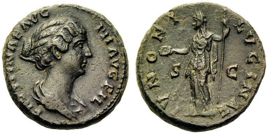 Ancient Coins - Faustina II, (Augusta, 147 – 175/6). Dupondius 138/161, Rome.