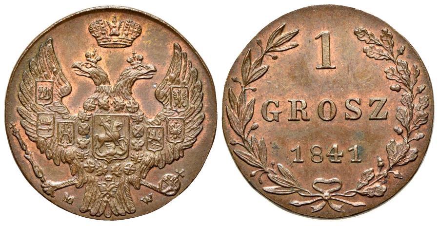 World Coins - POLAND. Grosz, 1841-MW.  GOOD EXTREMELY FINE