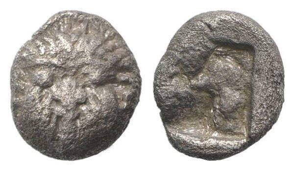 Ancient Coins - Macedon, Neapolis, c. 500-480 BC. AR Obol. Facing gorgoneion.