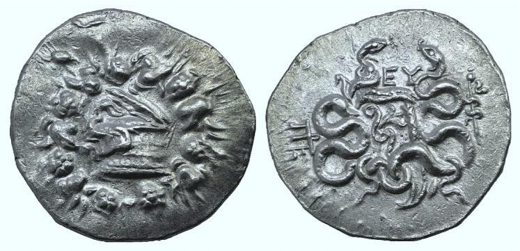 Ancient Coins - MYSIA, Pergamon. Circa 166-67 BC. AR Tetradrachm. Cistophoric type. Struck circa 92-88 BC.