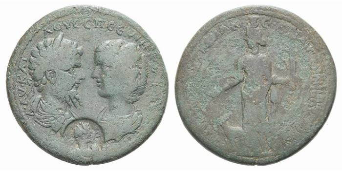 Ancient Coins - Caria, Stratonicaea. Septimius Severus and Julia Domna (193-211). Æ