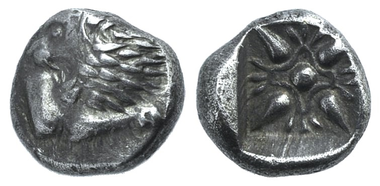 Ancient Coins - IONIA, Miletos. Late 6th-early 5th century BC. AR Obol IONIA, Miletos. Late 6th-early 5th century BC. AR Obol (9.5mm, 1.05 g). Forepart of lion left, head reverted / Stellate patte