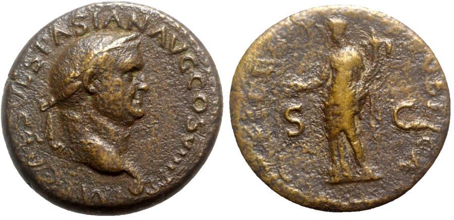 Ancient Coins - Vespasian (69-79). Æ Dupondius - Lugdunum - R/ Fides