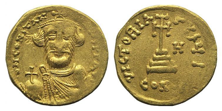 Ancient Coins - Constans II (641-668). Gold Solidus. Constantinople, 649-50.