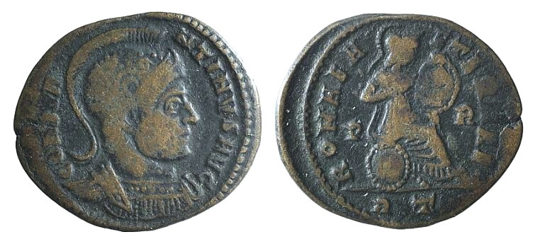 Ancient Coins - Constantine I (307-337). AE Follis. Rome, 318-9. R/ Roma seated RARE