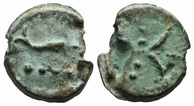 Ancient Coins - Rome Republic Anonymous, Rome, c. 280 BC. AE Cast Triens. Thunderbolt R/ Dolphin