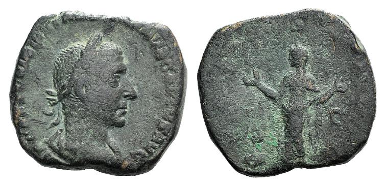Ancient Coins - Trebonianus Gallus (251-253). AE Sestertius. Rome, 251-252.  R/ PIETAS