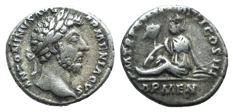 Ancient Coins - Marcus Aurelius (161-180). AR Denarius. Rome, 164. R/ Armenia