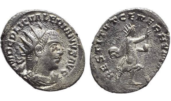 Ancient Coins - Valerian I (253-260). Antoninianus. Viminacium, 254/5. R/ Valerian, radiate, walking r.