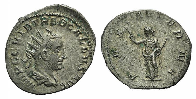Ancient Coins - Trebonianus Gallus (251-253). AR Antoninianus. Rome, 252. R/ PAX