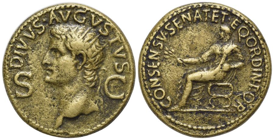 Ancient Coins - Divus Augustus (died AD 14). Æ Dupondius. Rome, 37-41. R/ Augustus seated on curule chair. RIVER PATINA