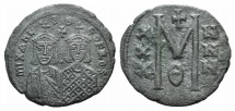 Ancient Coins - Michael II the Amorian, with Theophilus. 820-829. Æ Follis. Constantinople mint. Struck 821-829.