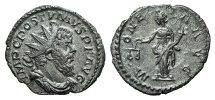 Ancient Coins - Postumus. Romano-Gallic Emperor, AD 260-269. AR Antoninianus. Treveri (Trier) mint. 1st emission, 2nd phase, AD 260-261. R/ VICTORY