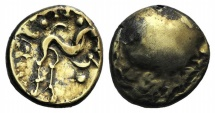 Celtic, Northeast Gaul. Ambiani, c. 58-55 BC. GOLD Stater. Gallic War issue.