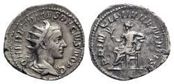 Ancient Coins - Herennius Etruscus (Caesar, 249-251). AR Antoninianus - Rome - R/ Apollo