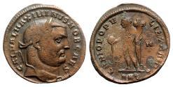 Ancient Coins - Maximinus II (Caesar, 305-309). Æ Follis - Antioch - R/ Genius
