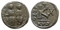 Ancient Coins - Justin II and Sophia (565-578). Æ 20 Nummi - Cyzicus, year 10 (574/5)