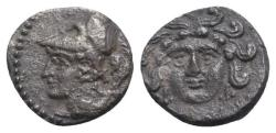 Ancient Coins - Cilicia, Uncertain, c. 4th century BC. AR Obol. Facing gorgoneion. R/ Head of Athena