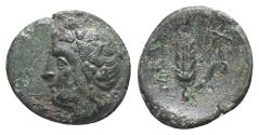 Ancient Coins - ITALY. Southern Lucania, Metapontion, c. 300-250 BC. Æ 15mm. Wreathed head of Dionysos  R/ Grain ear