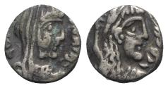 Ancient Coins - Nabataea, Rabbel II and Gamilat (AD 70-106). AR Drachm. Petra. Bust of Rabbel R/ Bust of Gamilat