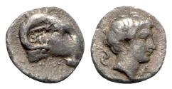 Ancient Coins - Caria, Kasolaba(?), c. 420-400 BC. AR Hemiobol - Ram's head / Male head