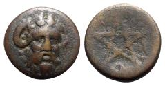 Ancient Coins - Mysia, Pitane, 4th-3rd centuries BC. Æ - Zeus-Ammon / Pentagram