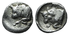 Ancient Coins - Caria, Uncertain, c. 5th century BC. AR Tetartemorion