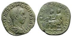Ancient Coins - Philip II (Caesar, 244-247). Æ Sestertius - R/ Philip I and Philip II seated