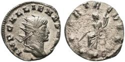 Ancient Coins - Gallienus (253-268). Antoninianus. Mediolanum, AD 266. R/ Fortuna seated