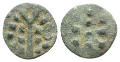 Ancient Coins - Celtic. Britain. Durotriges, c. 1st century BC - 1st century AD. Æ 15mm. Spike. R/ Three rows of pellets