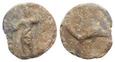 Ancient Coins - Roman PB Tessera, c. 1st century BC - 1st century AD. Neptune  R/ Dolphin