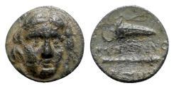 Ancient Coins - Caria, Kos, c. 210-180 BC. Æ - Helios / Club and quiver
