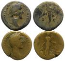 Ancient Coins - Antoninus Pius (138-161). Couple Æ Sestertii (R/ Mars and Annona)