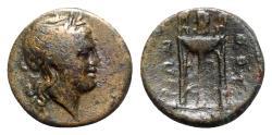 Ancient Coins - Southern Lucania, Thourioi, c. 280-213 BC. Æ - Apollo / Tripod