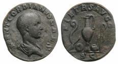 Ancient Coins - Gordian III (Caesar, AD 238). Æ Sestertius. Rome, c. April-June AD 238. R/ Emblems of the pontificate RARE