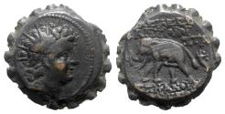 Ancient Coins - Seleukid Kings, Antiochos VI (144-141 BC). Æ Serrate