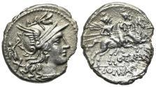 Ancient Coins - ROME REPUBLIC C. Terentius Lucanus, Rome, 147 BC. AR Denarius. R/ Dioscuri on horseback