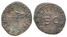 Ancient Coins - Claudius (41-54). Æ Quadrans. Rome, AD 41. Hand, holding scales R/ Large S • C
