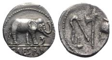 Ancient Coins - Julius Caesar, military mint traveling with Caesar, April-August 49 BC. AR Denarius. Elephant R/ Emblems
