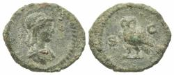 Ancient Coins - Anonymous, time of Domitian to Antoninus Pius, 81-161. Æ Quadrans. Rome.  R/ OWL