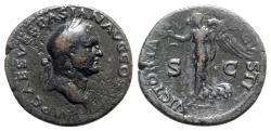 Ancient Coins - Vespasian (69-79). Æ As - Rome - R/ Victory