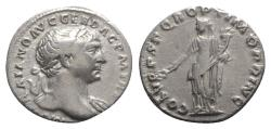 Ancient Coins - Trajan (98-117). AR Denarius - Rome - R/ Pax