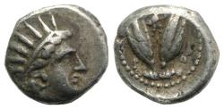 Ancient Coins - Islands of Caria, Rhodes, c. 275-250 BC. AR Diobol. Radiate head of Helios  R/ Two rose buds