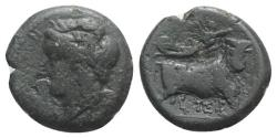 Ancient Coins - ITALY. Southern Campania, Neapolis, c. 270-250 BC. Æ 21mm. R/ Man-headed bull