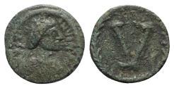 Ancient Coins - Justinian I (527-565). Æ 5 Nummi. Imitative (Sicilian?) mint, 538-565