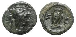 Ancient Coins - Anonymous, time of Domitian to Antoninus Pius, 81-161. Æ Quadrans - Minerva / Owl